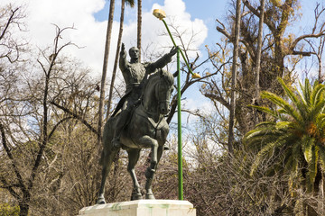 Seville, Spain. Statue of Simon Bolivar, El Libertador, a Venezuelan political leader who lead to the independence of Venezuela, Bolivia, Colombia, Ecuador, Peru and Panama