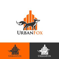 urban fox running logotype