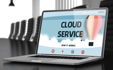 Cloud Service on Laptop in Meeting Room. 3d
