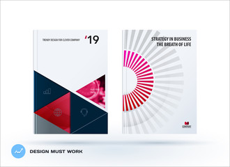 Material design template. Creative red colourful abstract brochure set, annual report, horizontal cover