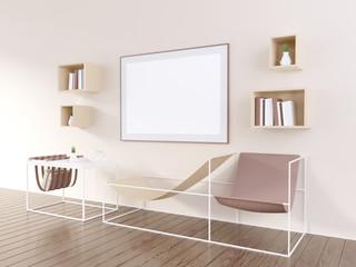 3D illustration of poster frame template, workspace mock up, background  typography,  up