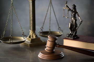 Symbol of law and justice. Concept law and justice. Scales of justice, gavel and book