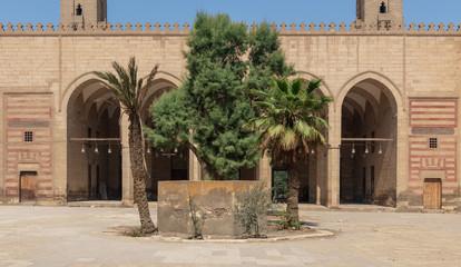 Courtyard of Al Zaher Barquq public historical mosque, Al Dar Al Ahmar district, Cairo, Egypt