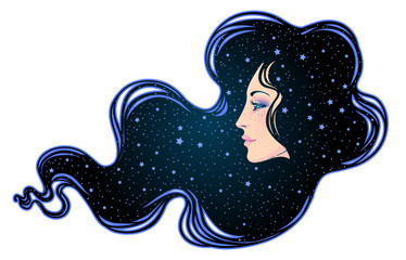 The profile of a girl with he hair full of stars inside. Female portrait of magic night fairy. Isolated vector illustration. Fantasy, spirituality, occultism, tattoo.