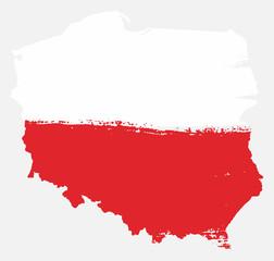 Fototapeta Poland Flag & Map Vector Hand Painted with Rounded Brush obraz