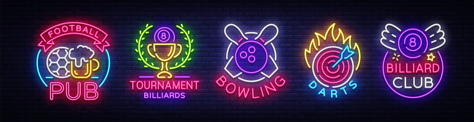 Logo collection in neon style. Set Neon Signs Football Pub, Billiards, Bowling, Darts. Nightlife, Neon signboard, banner Design elements, Bright advertising for your projects. Vector illustration