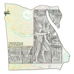 20 egyptian pound bank note full frame reverse in shape of egypt