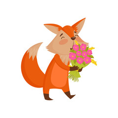 Cute cartoon red fox character holding bouquet of flowers vector Illustration on a white background