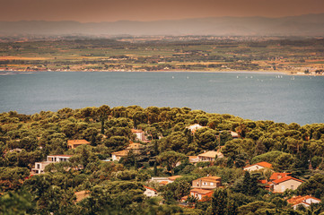 Sete - fascinating small town on the French Mediterranean coast known as the Venice of Languedoc, aerial view