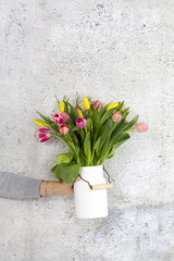 white Flower vase with colorful tulips