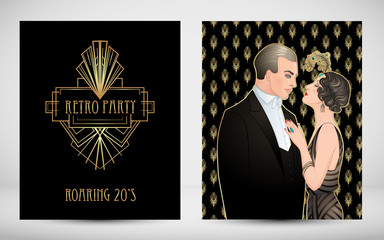 Flapper 20's style. Vintage party or thematic wedding invitation design template. Beautiful couple in art deco style. Retro fashion: glamour man and woman of twenties.