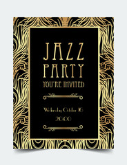 Art Deco vintage invitation template design. patterns and frames. Retro party geometric background set (1920's style). glamour event, thematic wedding or jazz party.