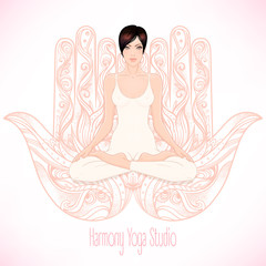 Woman sitting in lotus position over hamsa symbol on background. Vector illustration of a girl isolated. Ornate hand drawn sign.