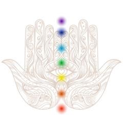 Esoteric tattoo flash. Ornate hand drawn hamsa with chakras. Popular Arabic and Jewish amulet. Vector illustration isolated on white. Tattoo design, mystic symbol.