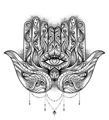 Ornate hand drawn hamsa. Popular Arabic and Jewish amulet. Vector illustration isolated on white. Tattoo design, mystic symbol. coloring book for adults.