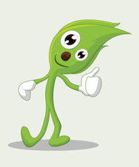 Cute leaves cartoon character with thumbs up,  Leaf Mascot - Vector illustration