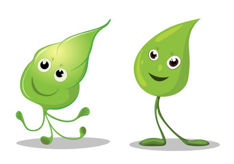 Happy leaves cartoon characters, Leaf Mascot - Vector illustration