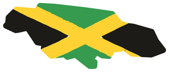 Jamaica Flag & Map Vector Hand Painted with Rounded Brush