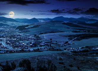 stara lubovna town in slovakia at night
