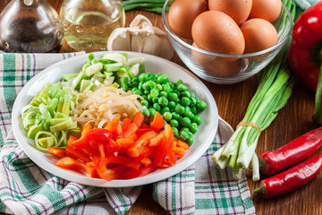 Ingredients ready for preparing egg fu yung