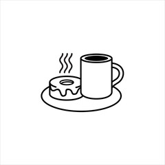 Coffee and cake - Vector Illustration