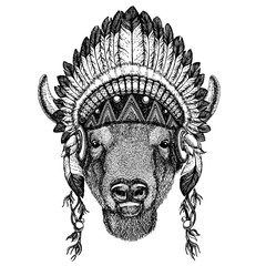Bison, ox, buffalo. Zoo. Wild animal wearing inidan headdress with feathers. Boho chic style illustration for tattoo, emblem, badge, logo, patch. Children clothing