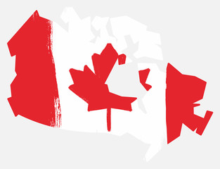 Canada Flag & Map Vector Hand Painted with Rounded Brush