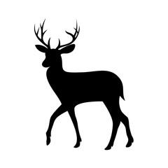 deer logo template , silhouette deer - vector Illustration