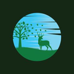 deer on the forest, deer vector illustration