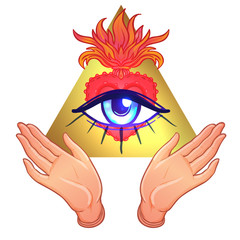 Human hands open around masonic symbol all seeing eye over sacred heart and pyramid. New World Order. Alchemy, religion, spirituality, occultism. Color vector illustration isolated.