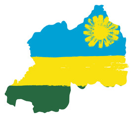 Rwanda Flag & Map Vector Hand Painted with Rounded Brush