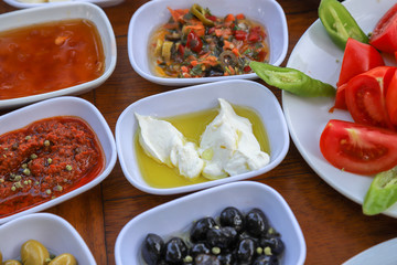 Traditional Turkish breakfast and breakfast table