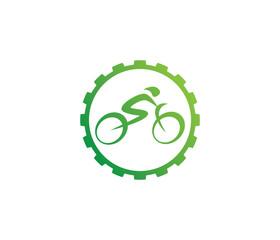 green abstract bicycle icon or vector logo design