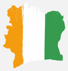 Ivory Coast Flag & Map Vector Hand Painted with Rounded Brush