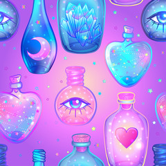 Vector seamless pattern with glass flasks. Magic potions: tubes and bottles. Wrapping paper. Titled illustration. Magical elements: moon, crystals, Saturn,  Alchemy, science.