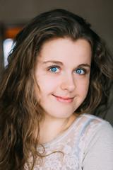 Portrait Of Beautiful Smiling Young Caucasian Woman Girl. Pretty