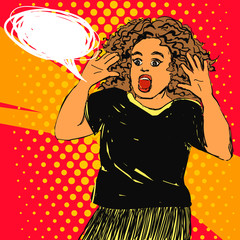 Scared screaming woman with opened mouth and hands up, curly hair. Vector hand drawn pop art illustration with text bubble.