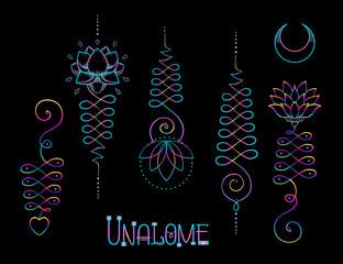 Lotus and Sacred Geometry. Unamole hindu symbol of wisdom and path to perfection. Set of tattoo flesh, yoga logo. Esoteric print, poster, t-shirt textile. Colorful rainbow signs set