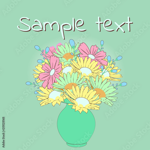 Bouquet Of Cartoon Flowers In The Vase Vector Hand Drawn Vintage