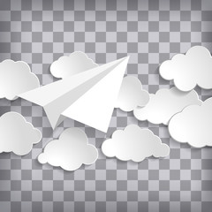 white paper aplane with clouds on a checked transparency air background.  Grey sky travel background.