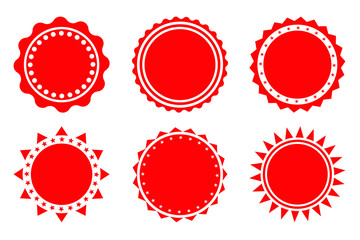 Set of red blank, empty retro badges, tags, stickers and labels, vector starbursts.