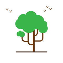 vector illustration of spring flat style tree icon on a white background