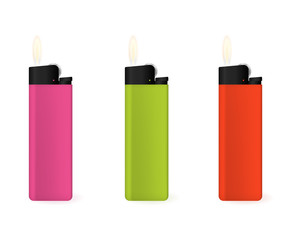 Set of multi-colored lighters. Flame vector illustration.