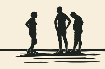 Silhouettes of people on the beach. Retro Engraving Linocut Style. Vector Illustration.