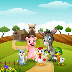 Wall Murals Bears Happy little animals farm in the path