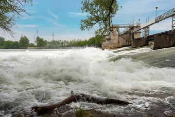 Old Dam in the Adige River - (Diga del Pestrino) Verona Italy