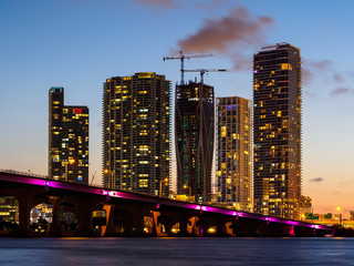 View to skyscrapers in Miami city,  USA
