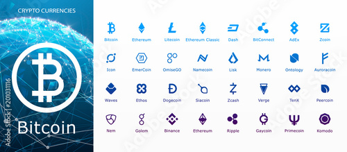 Vector collection of crypto currency blockchain flat logo