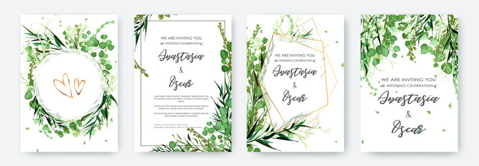 Wedding invitation frame set; flowers, leaves, watercolor, isolated on white. Sketched wreath, floral and herbs garland with green, greenery color. Handdrawn Vector Watercolour style, nature art. Fototapete
