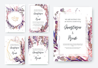 Wedding invitation frame set; flowers, leaves, watercolor, isolated on white. Sketched wreath, floral and herbs garland with green, greenery color. Handdrawn Vector Watercolour style, nature art.
